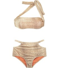 adriana degreas velvet hot pants bikini set - neutrals