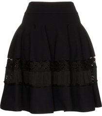 alexander mcqueen high-waisted macrame-panelled skirt - black
