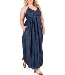 plus size women's standards & practices maui maxi chambray halter dress
