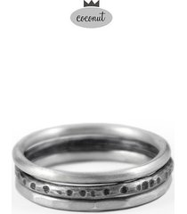 pierścionek texture - 3 obrączki srebro t17