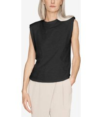 b new york cotton padded-shoulder tank top