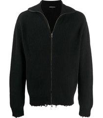 ann demeulemeester long sleeve distressed sweater - black