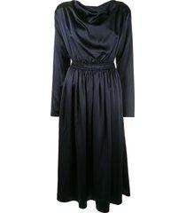 adam lippes cowl neck silk dress - blue