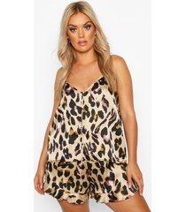 plus luipaardprint pyjama met hemdje met knopen en geplooide zoom, luipaard