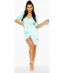 satin plunge puff sleeve drape mini dress, aqua