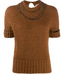 nº21 mother-of-pearl embellished knitted top - brown