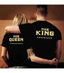 par t-shirts letra impresa tops de manga corta tee camiseta informal el rey reina