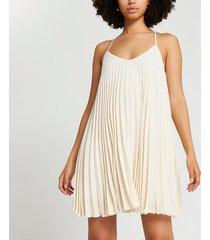 river island womens beige pleated slip dress