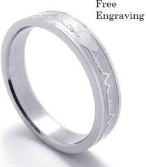 free engraving 4mm silver heartbeat ring, women ring, promise ring, wedding ring