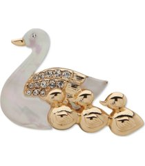 anne klein gold-tone white duck & ducklings pin