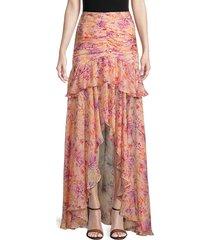 amur women's fie floral silk maxi skirt - cantaloupe - size 6