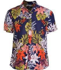 camisa areia branca slim fit floral lanai estampada azul