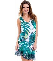 saída de praia 101 resort wear vestido crepe estampado folhagem