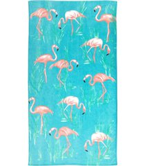 martha stewart collection flamingo bay velour beach towel, created for macy's bedding