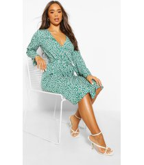 ditsy floral button front midi dress, green
