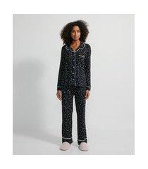 pijama americano longo em viscolycra com estampa de estrelinhas   lov   preto   g