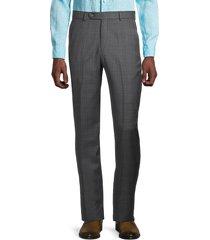 saks fifth avenue men's plaid wool pants - grey - size 40