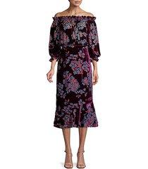 grace off-the-shoulder silk midi dress