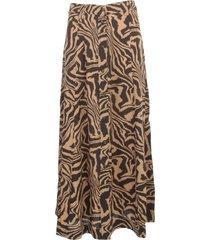 ganni printed crepe skirt a line
