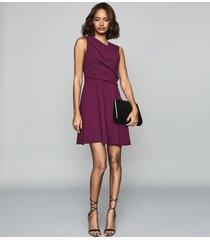 reiss marianne - wrap front mini dress in berry, womens, size 12
