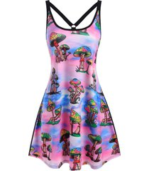 mushroom print o ring strappy tank dress