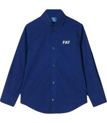 fay blue shirt with curved hem