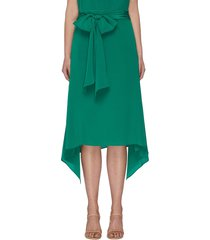 asymmetric waist tie skirt