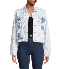 superdry women's acid crop denim jacket - light blue - size 8