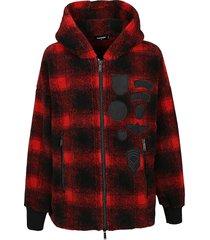 dsquared2 check zip sweatshirt
