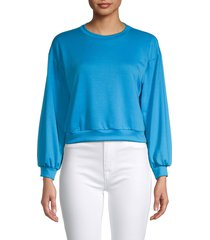 tiana b women's dropped-shoulder cropped sweatshirt - turquoise - size xl