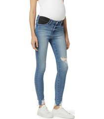 joe's the icon ripped chewed hem straight leg maternity jeans, size 33 in rookie at nordstrom