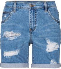 shorts di jeans effetto sdrucito (blu) - rainbow