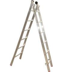 escada de alumínio alulev, 10 degraus, 3 em 1, dupla profissional - dp110