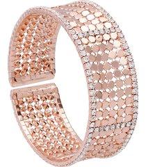 bracciale bangle con strass in metallo rosato per donna