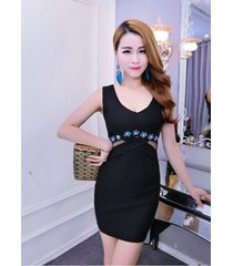 pf092 sweet u neck slimming dress, stretchable cotton, free size, black