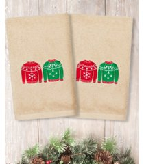 linum home christmas sweaters embroidered 100% turkish cotton 2-pc. hand towel set bedding