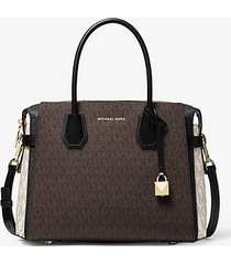 mk borsa a mano mercer media color block con logo - brown multi - michael kors