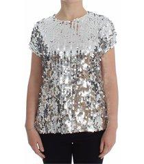 lovertjes ronde hals blouse t-shirt van top