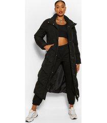 maxi gewatteerde jas met hoge hals en stiksels, black