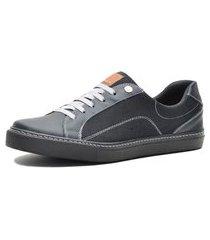 sapatenis casual mr shoes couro preto