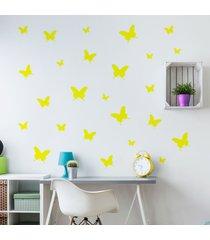 adesivo de parede borboletas amarelas 25un cobre 1,5mâ² - amarelo - menina - dafiti
