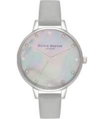 olivia burton women's timeless classics gray leather watch strap 34mm