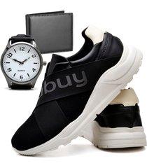 tênis sapatênis casual asgard com carteira e relógio new masculino db 243lbm preto