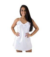 camisola linha noite cetim branco
