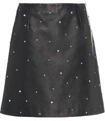miu miu crystal-embellished leather skirt - black