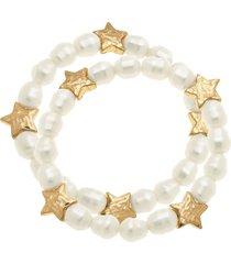 women's canvas jewelry sarah star set of 2 imitation pearl stretch bracelets