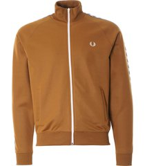 fred perry taped track jacket | dark caramel | j6231-644