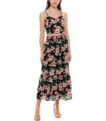 crave fame juniors' 2-pc. floral-print tiered maxi dress