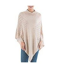 knit poncho, 'beige reality squared' (peru)