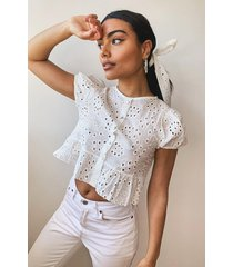 broderie button through blouse, ivory